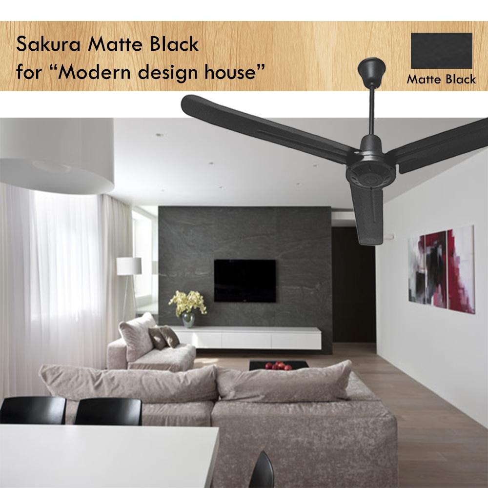 รุ่นใหม่ พัดลมเพดาน ซากุระ matte black ราคา คุณภาพ มาตรฐาน
