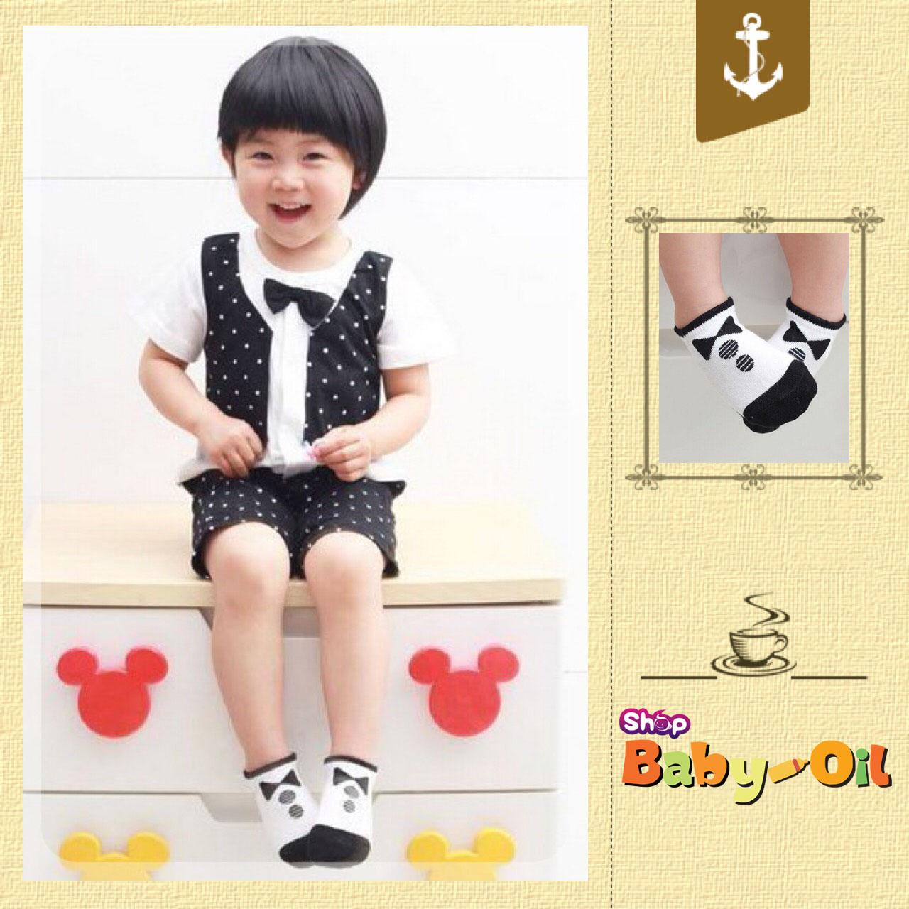SK014••ถุงเท้าเด็ก•• โบว์ดำ (พื้นดำ-ข้อสั้น)