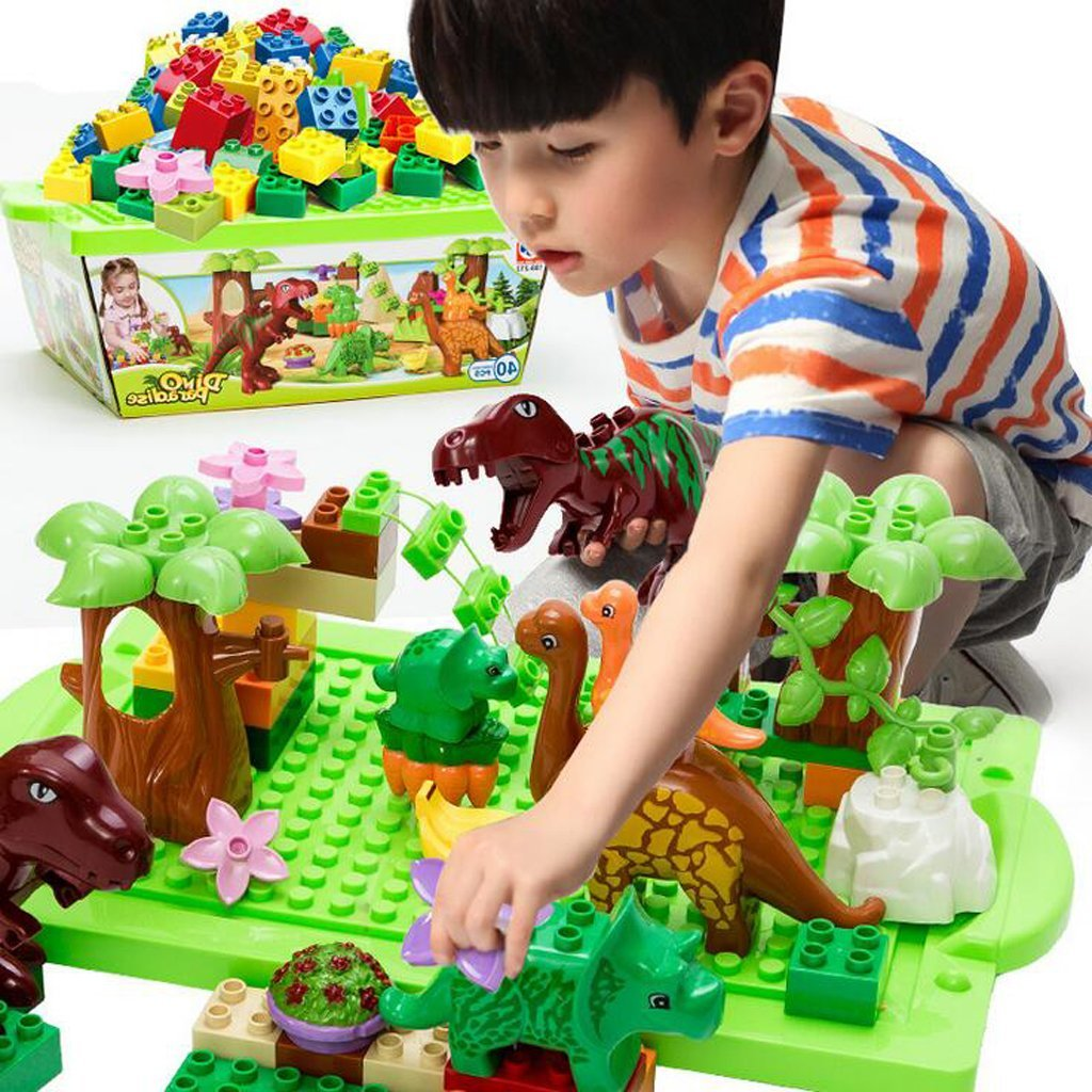บล็อคตัวต่อพลาสติกขนาดใหญ่ ชุดไดโนเสาร์ สำหรับเด็กเล็ก