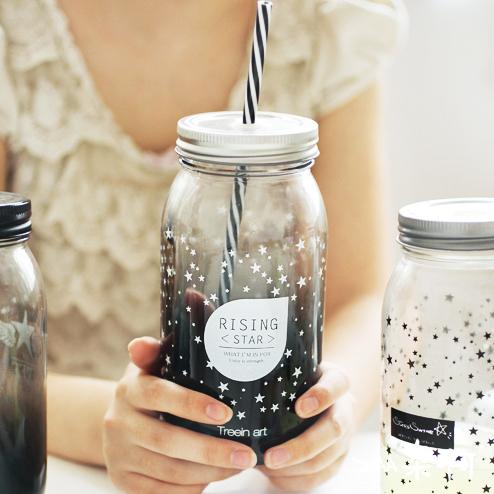 ขวดโหลแก้วพร้อมหลอด Star < พร้อมส่ง >