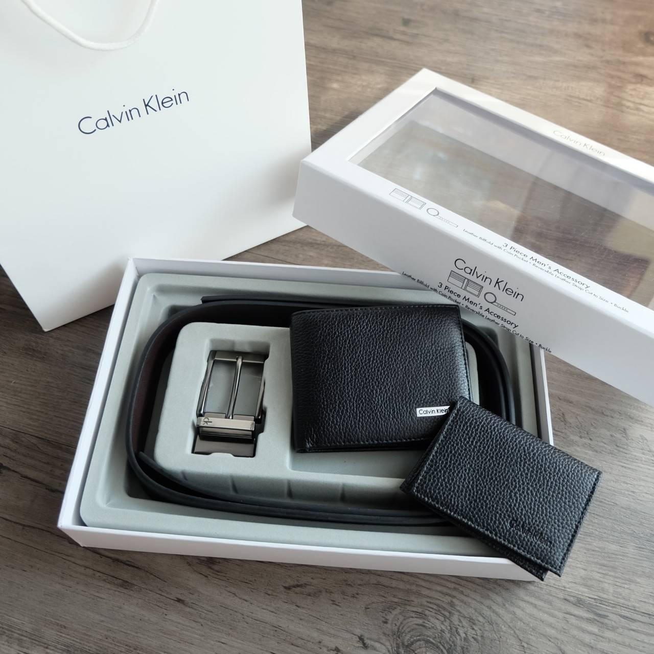 Calvin Klein Leather Belt & Wallet Set