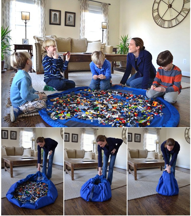 ถุงรูดเก็บของเล่น+แผ่นรองนั่งเล่น 2 in 1 Toys Fast Pouch Pad