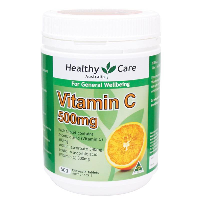 Healthy Care Vitamin C 500mg Chewable 500 Tablets ของแท้ ราคาถูก ปลีก/ส่ง โทร 081-859-8980 ต้อม
