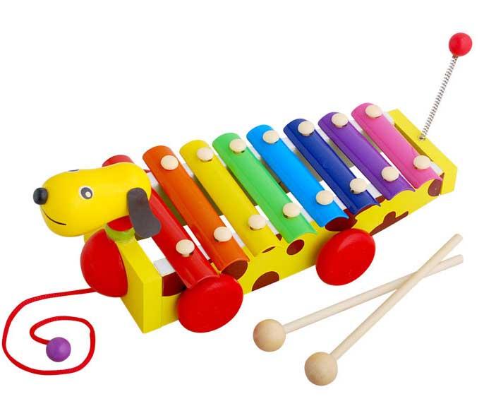 ของเล่นไม้ ระนาด + รถลาก รูปสุนัข 2 in 1