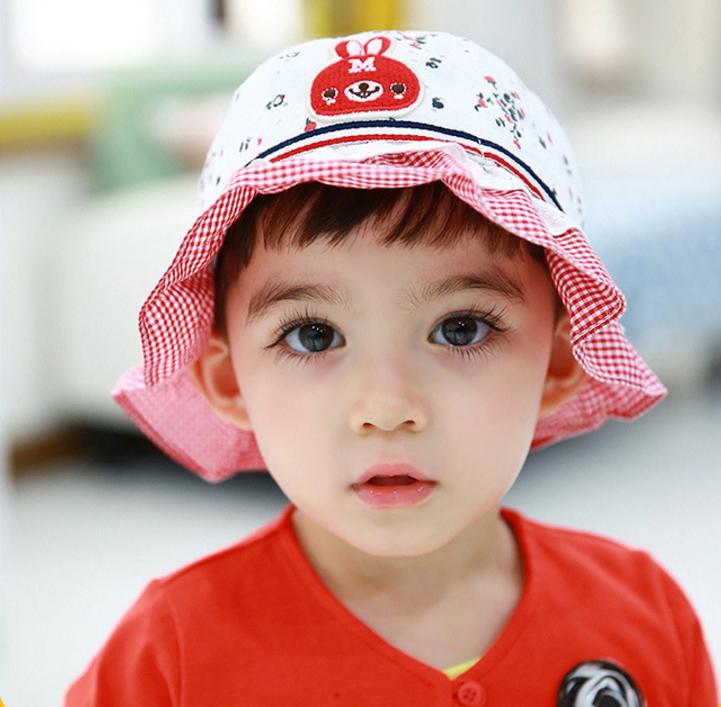 HT489••หมวกเด็ก•• / หมวกปีกกว้าง-Rabbit (สีแดง)