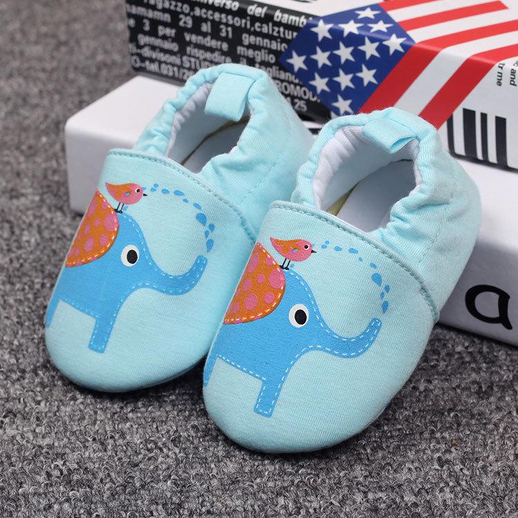 รองเท้าเด็กอ่อน ลายช้างสีฟ้า วัย 0-12 เดือน