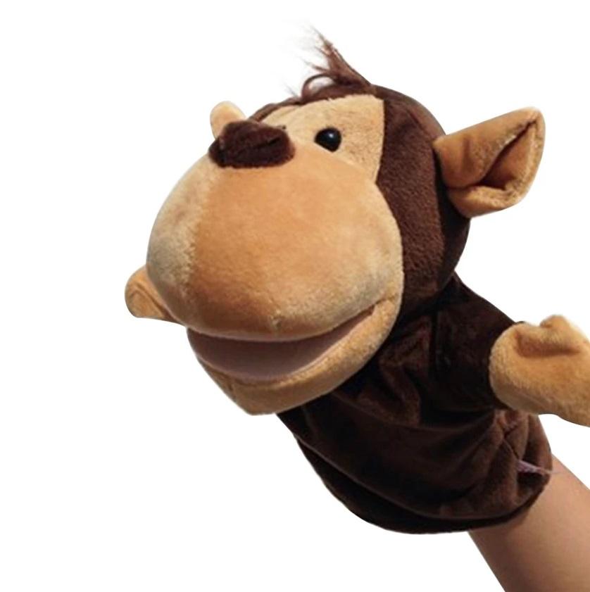 ตุ๊กตาหุ่นมือลิง หัวใหญ่ ขนนุ่มนิ่ม สวมขยับปากได้