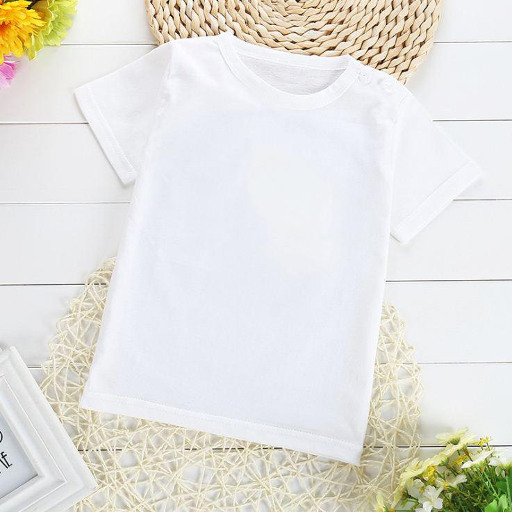 เสื้อยืดเด็กเล็กสีขาวล้วน มีกระดุมข้างคอ สำหรับเด็กวัย 1-4 ปี