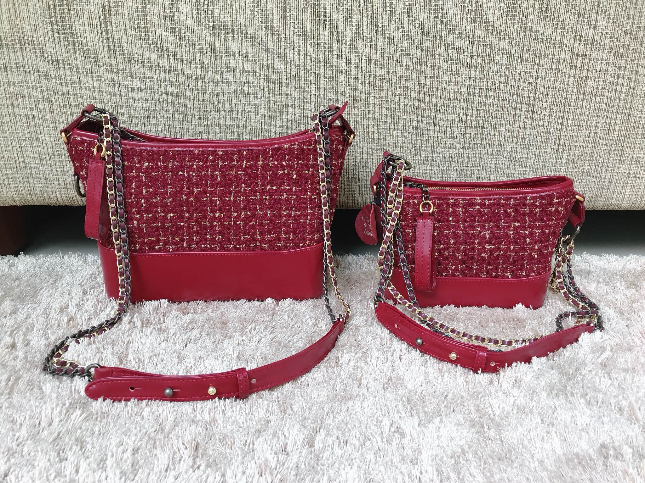 Gabrielle Tweed 2 Size Burgundy Colour
