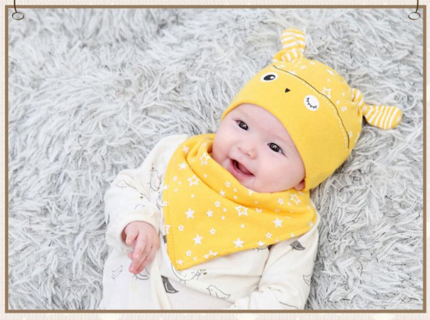 AP222••เซตหมวก+ผ้ากันเปื้อน•• / นกฮูก [สีเหลือง]