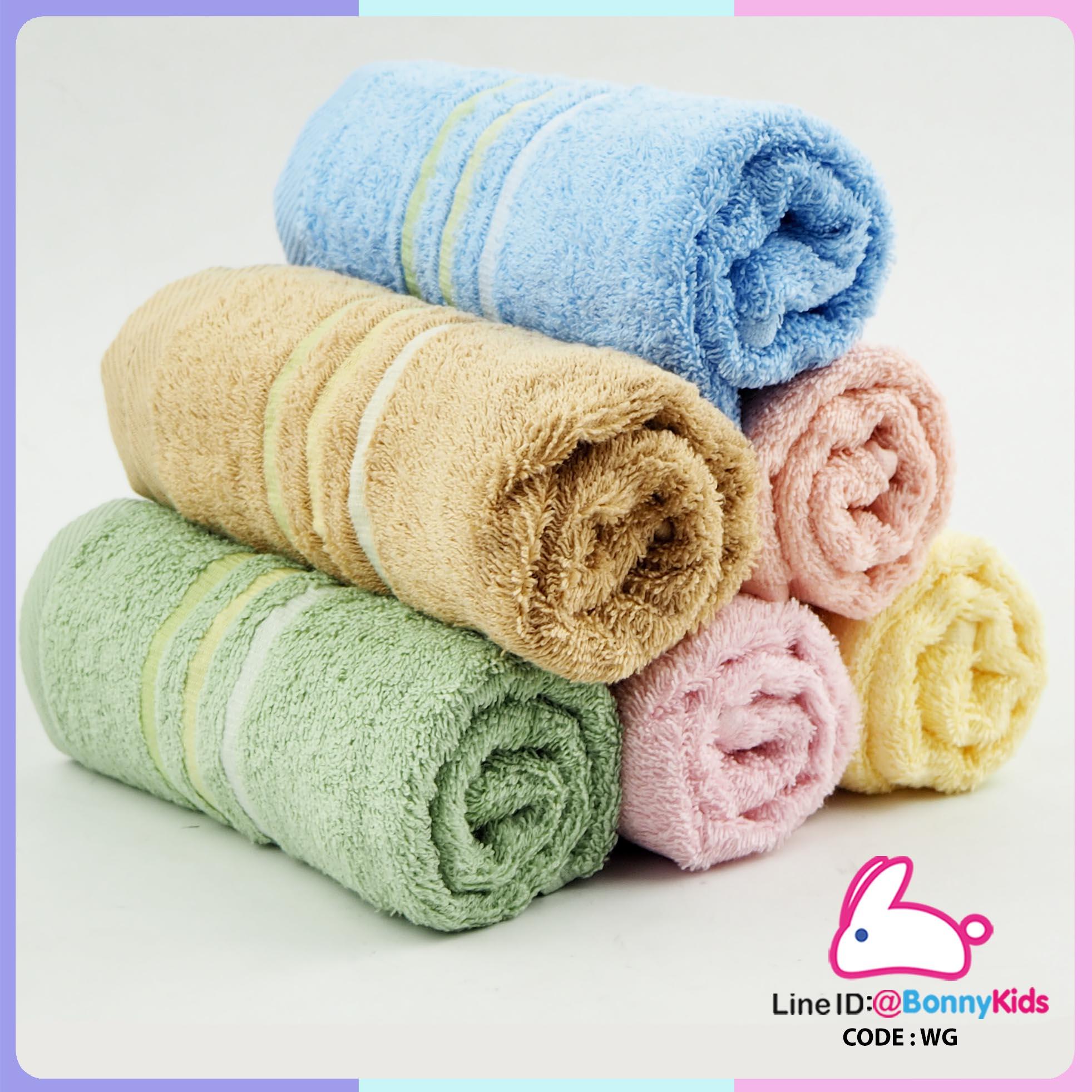 ผ้าขนหนู cotton 100% size 15x30 นิ้ว อย่างดี เนื้อนิ่มฟู ขนไม่ร่วงติดผิว แพ็ค 6 ผืน