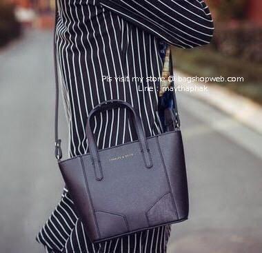 CHARLES & KEITH MINI HANDBAG กระเป๋าถือสะพายวัสดุหนัง Saffiano สวยหรูอยู่ทรง