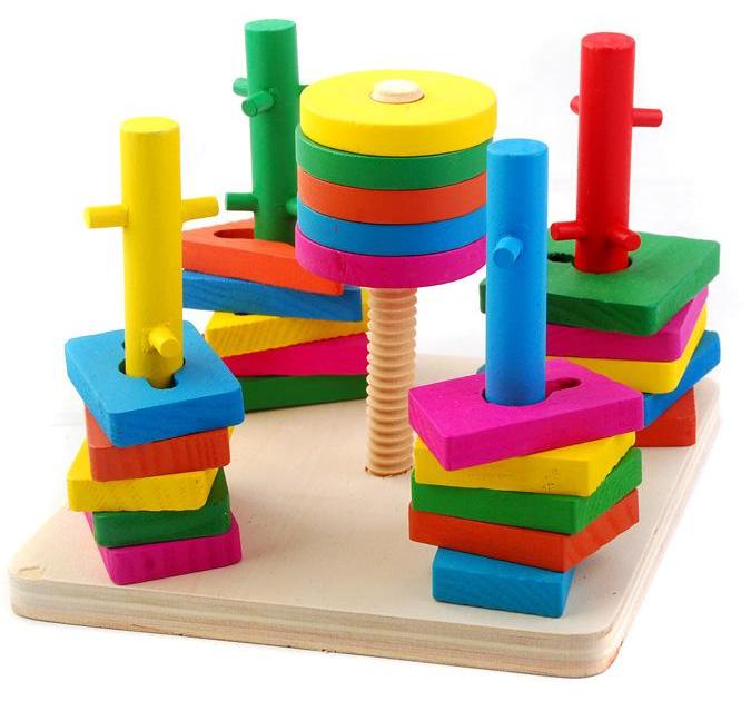 ของเล่นไม้ บล็อคไม้สวมหลัก เสริมพัฒนาการ