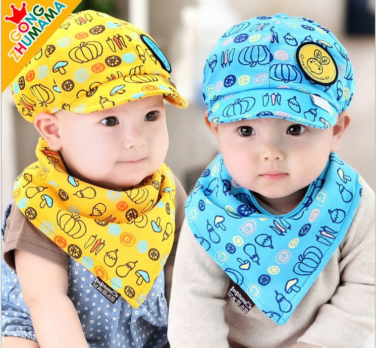 Set หมวกเด็กอ่อน+ผ้ากันเปื้อนสามเหลี่ยม Yummy Vegetable วัย 3-24 เดือน