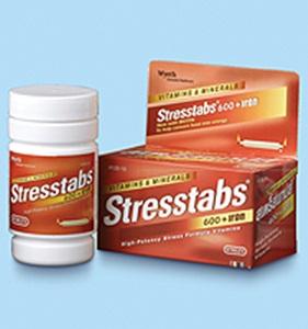 Stresstabs 600 + Iron สเตร็สแทปส์ 600+แร่เหล็ก (สีแดง)60เม็ด