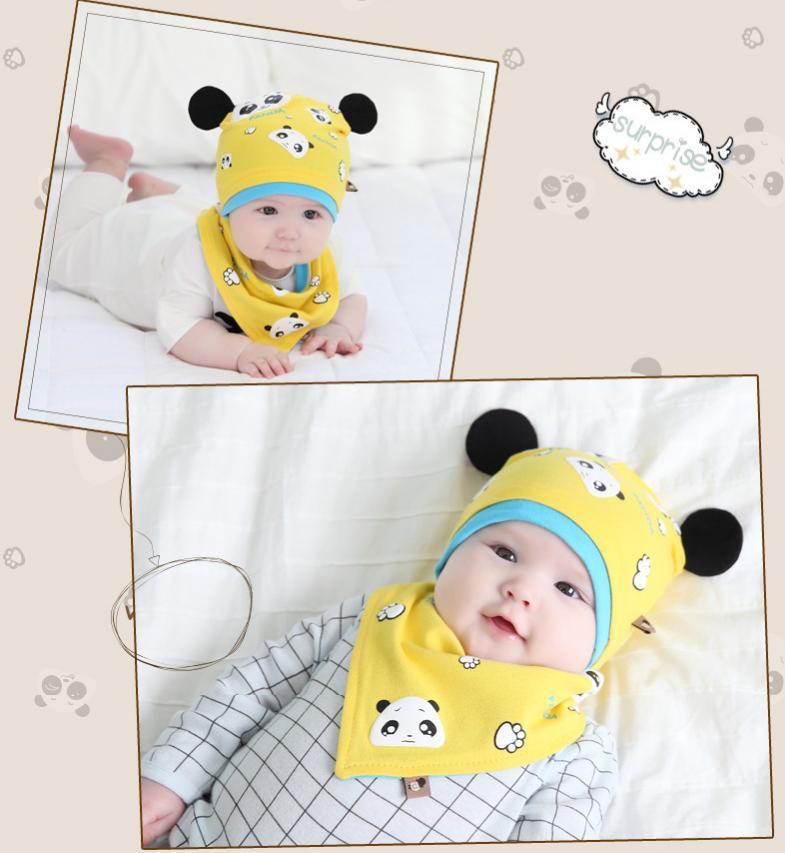 AP211••เซตหมวก+ผ้ากันเปื้อน•• / แพนด้า [สีเหลือง]