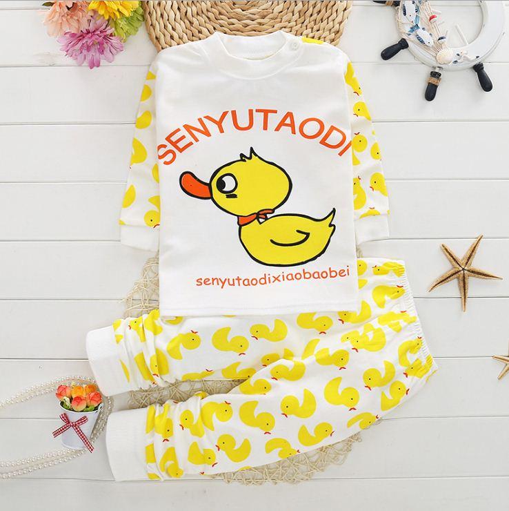 ชุดนอนเด็กเล็ก แขนยาว+ขายาว ลายการ์ตูนเป็ดสีเหลือง สำหรับเด็ก 1-3 ปี