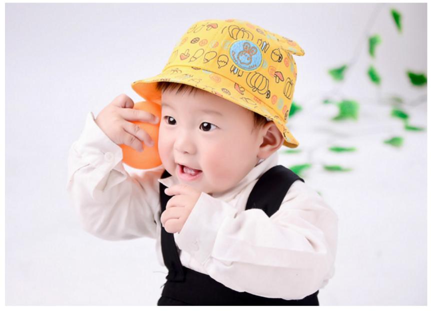 HT470••หมวกเด็ก•• / หมวกปีกกว้าง-นานาผัก (สีเหลือง)