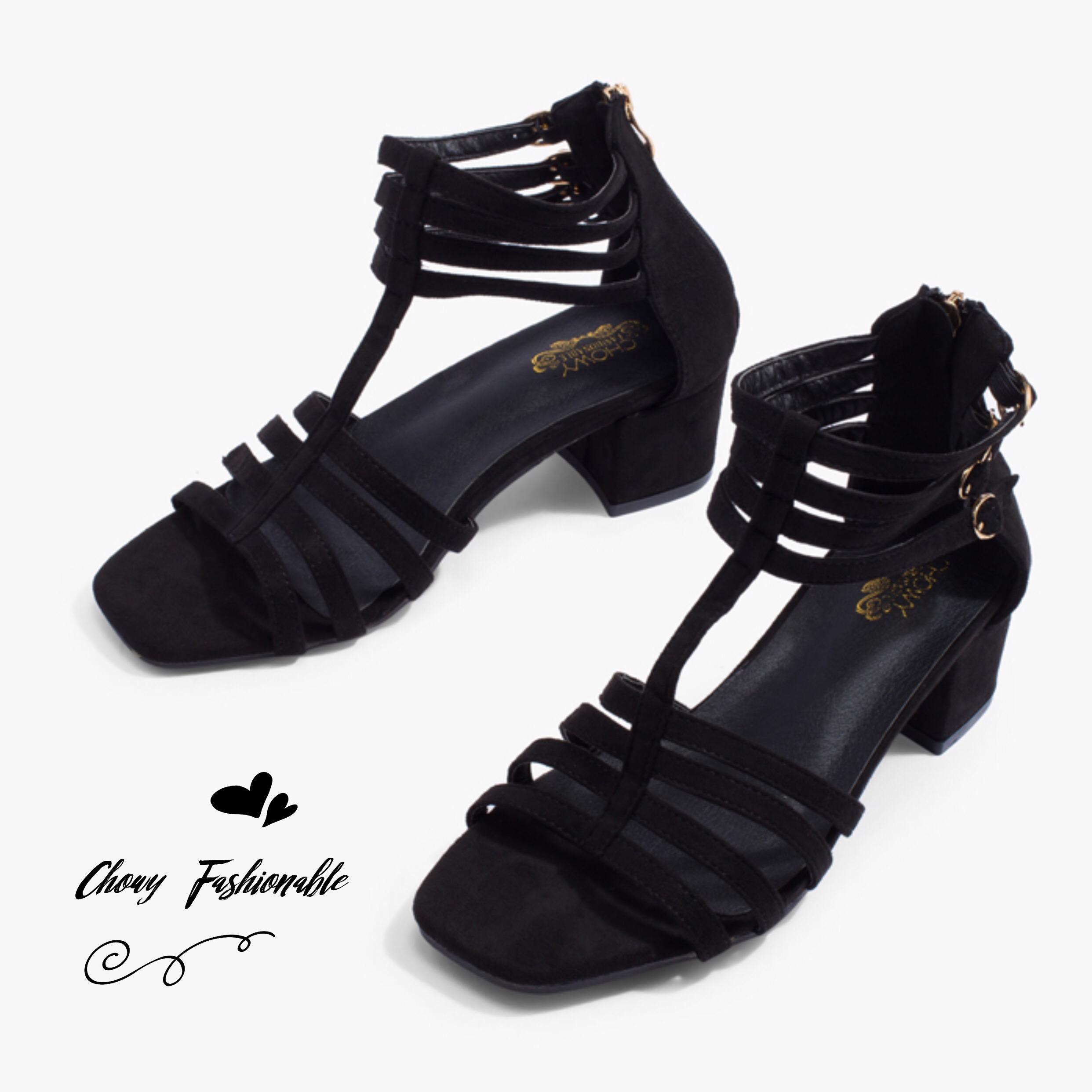 รองเท้าไซส์ใหญ่ส้นเตี้ย Gladiator Strappy ไซส์ 40-41 EU สีดำ รุ่น CH0136