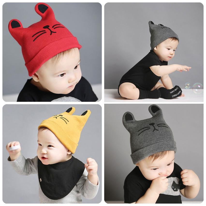 หมวกกันหนาวเด็กเล็ก รูปแมว เท่ๆ สีแดง/เทา/เหลือง