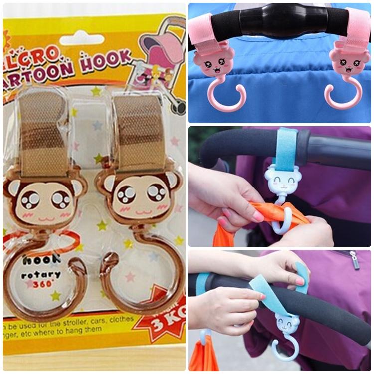 [แพคคู่] ตะขอแขวนติดรถเข็น ห้อยสัมภาระ ลายการ์ตูน Velcro Cartoon Multi-Purpose Hook