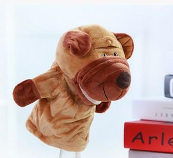 ตุ๊กตาหุ่นมือสุนัข หัวใหญ่ ขนนุ่มนิ่ม สวมขยับปากได้