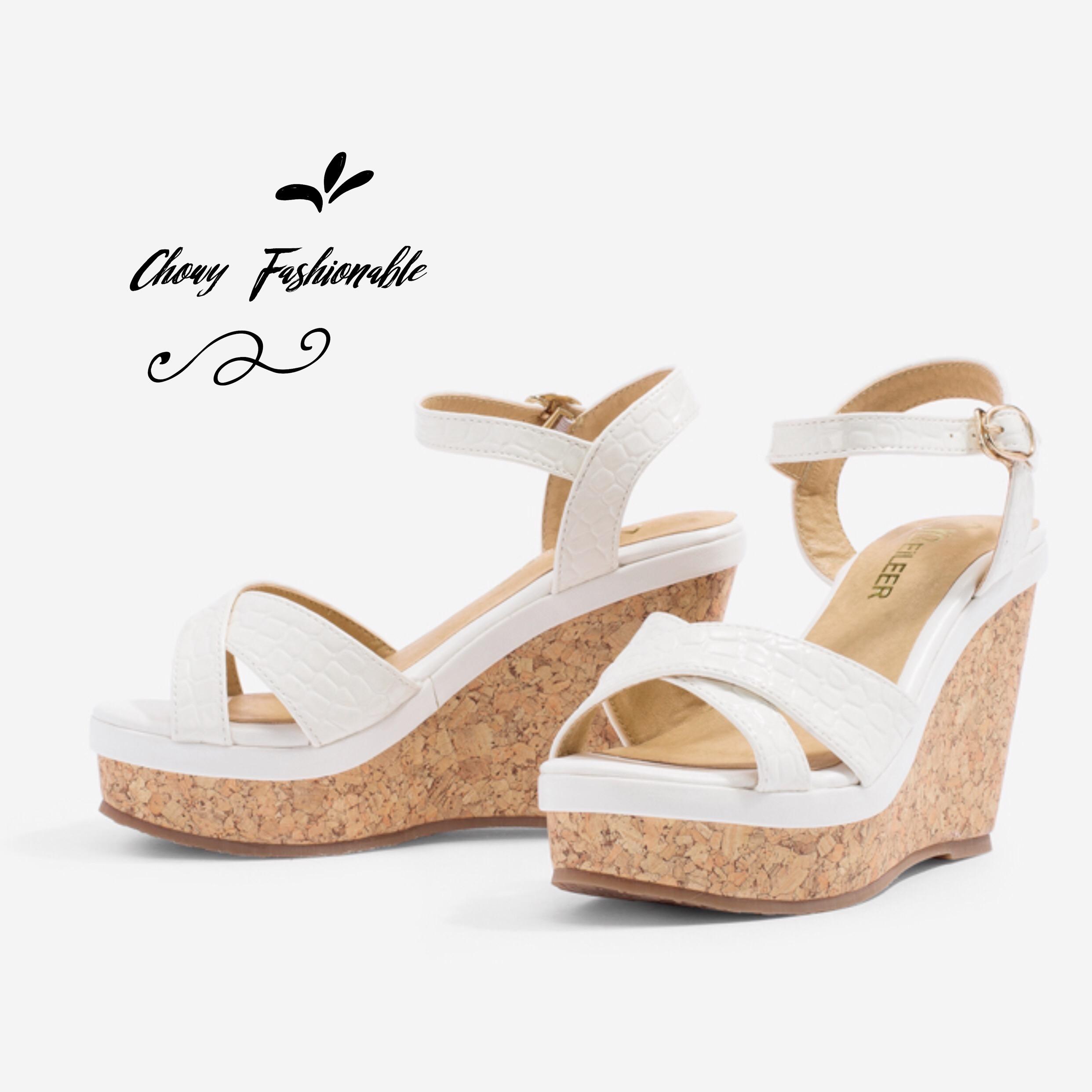 รองเท้าแตะส้นสูง Patent Textured Cork-Heel รุ่น KR0524