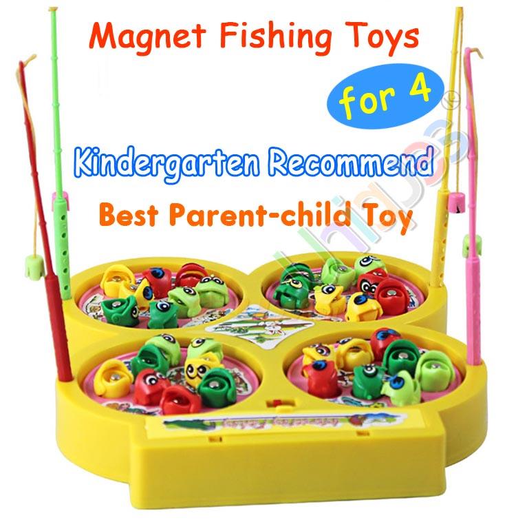 ของเล่นตกปลา แบบปากแม่เหล็ก 4 บ่อ