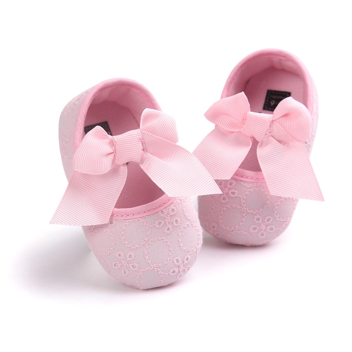 รองเท้าเด็กอ่อนโบว์ใหญ่ พื้นกันลื่น วัย 6-18 เดือน สีชมพู