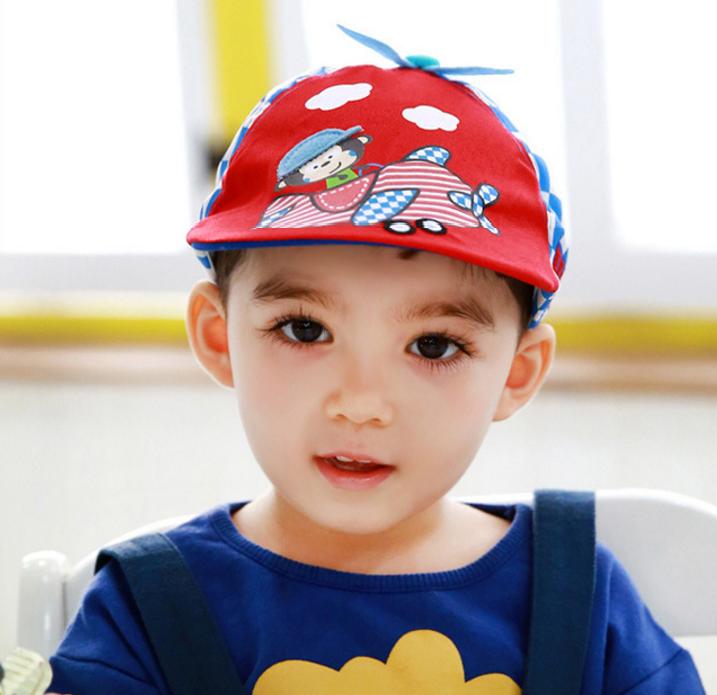 HT519••หมวกเด็ก•• / หมวกเบเร่ต์-ลิงขับเครื่องบิน [สีแดง]