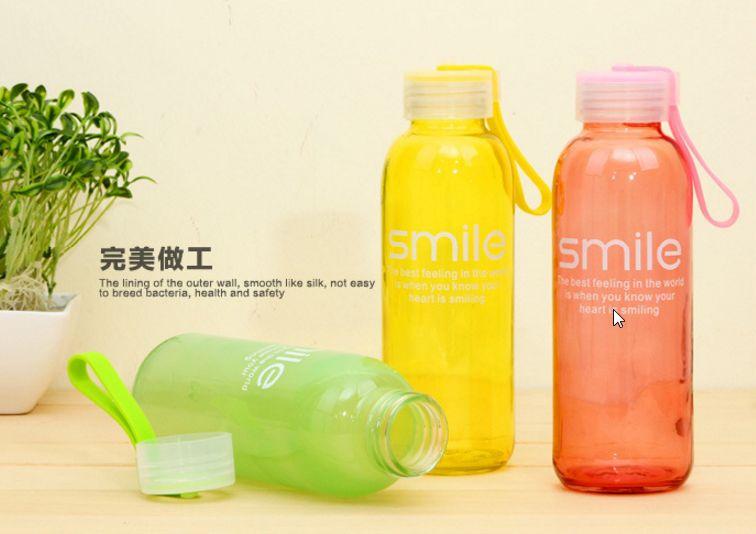ขวดแก้วสี Smile Glass ทรงกระบอก <พร้อมส่ง>