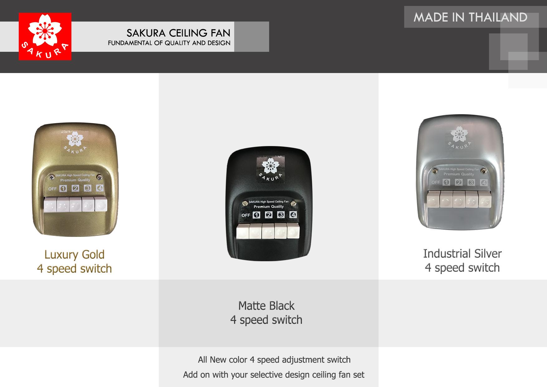 สวิตซ์ เหล็ก พัดลมเพดาน all new matte black Industrial Silver Luxury Gold ปรับระดับแรงลม 4 ระดับ
