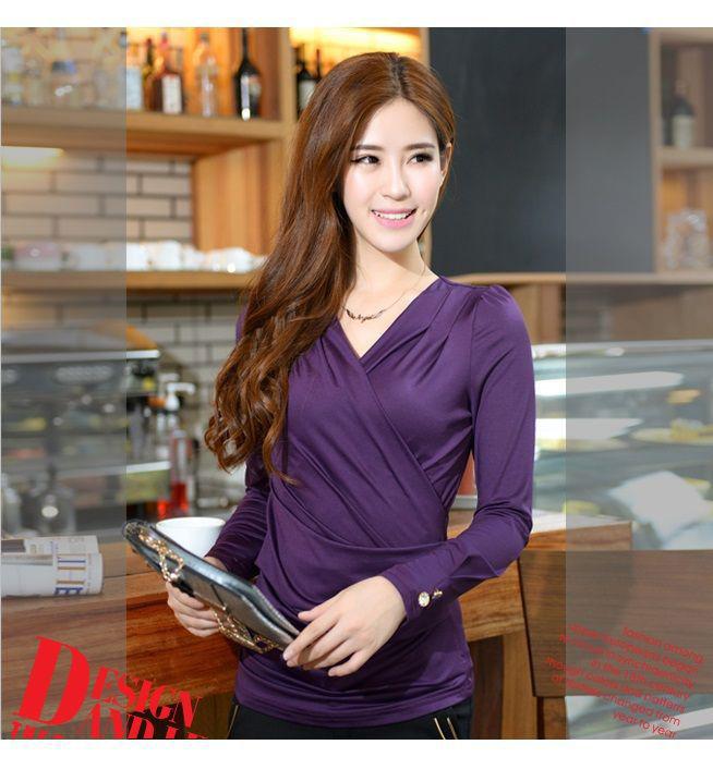 เสื้อแขนยาวคอวี Shirring(สีม่วง)