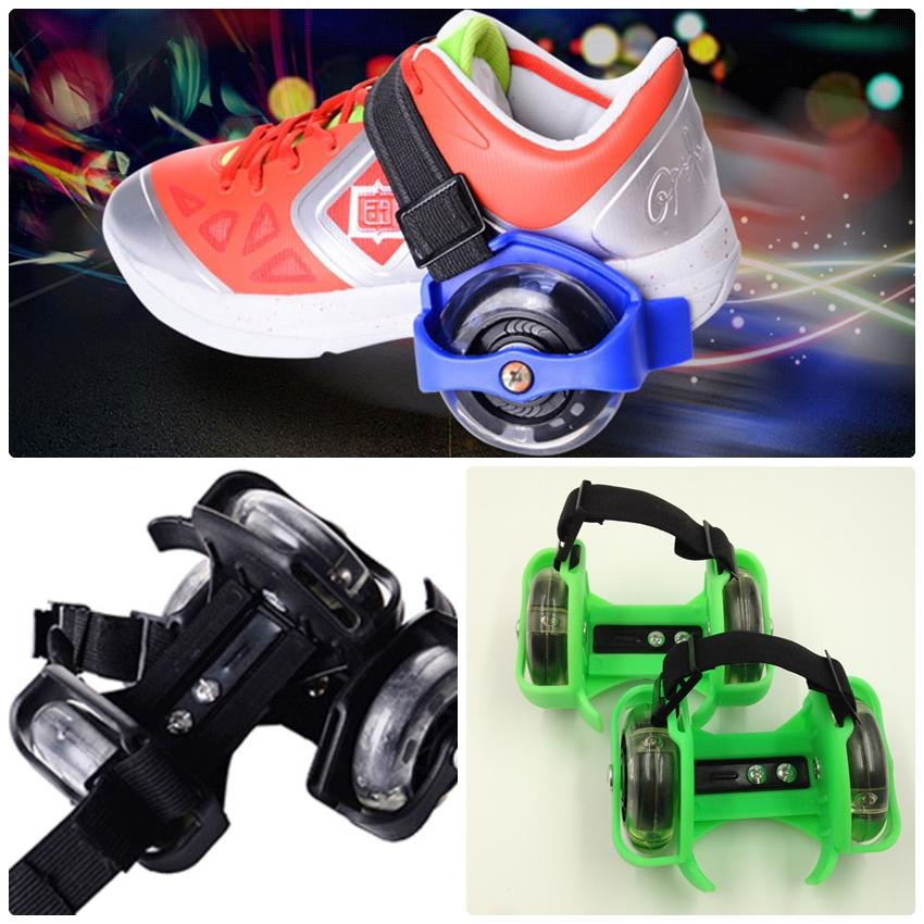 ล้อสเก็ตสวมรองเท้า Flashing Roller ล้อมีไฟ LED ปรับขนาดได้ตามวัย