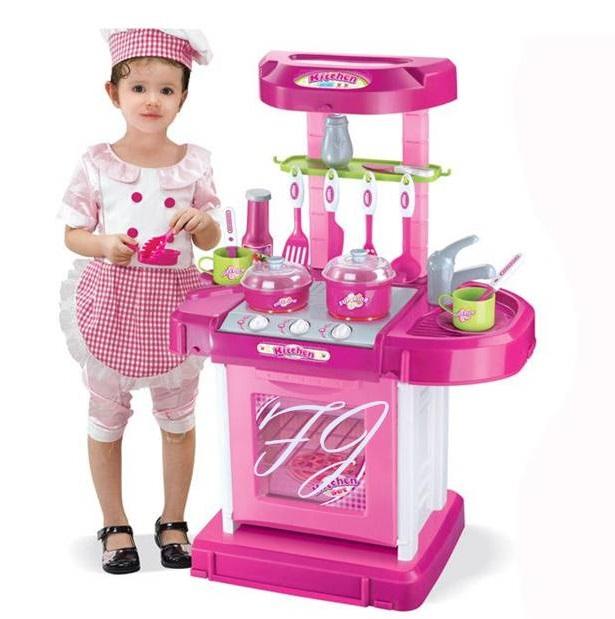 ของเล่นชุดเคาน์เตอร์ครัวมินิ พร้อมอุปกรณ์ทำอาหารสำหรับคุณหนูครบเซต สีชมพูสวยหวาน