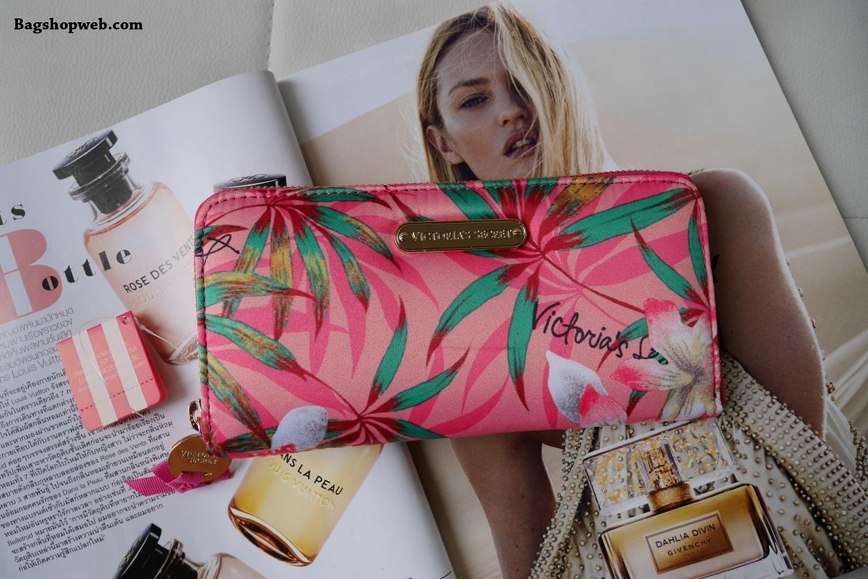 Victoria's Secret Tropical hawaii style satin zip wallet