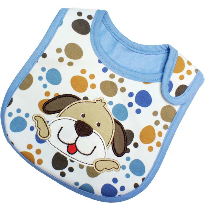 ผ้ากันเปื้อน Carter's ลายเท้าสุนัขสีฟ้า ปักรูปสุนัข