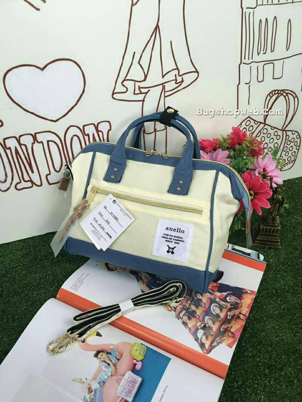 กระเป๋า Anello 2 Way Mini Boston Bag Twotone ขาวฟ้า สะพายข้างลำตัว