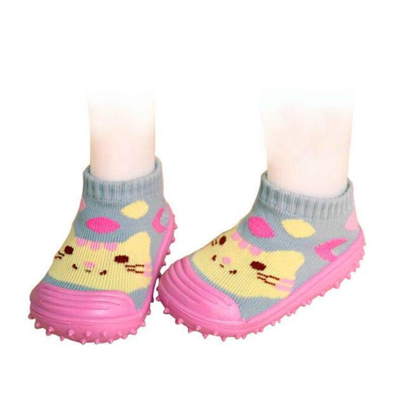 รองเท้าถุงเท้าพื้นยางหัดเดิน สีชมพูลายแมว size 19-23