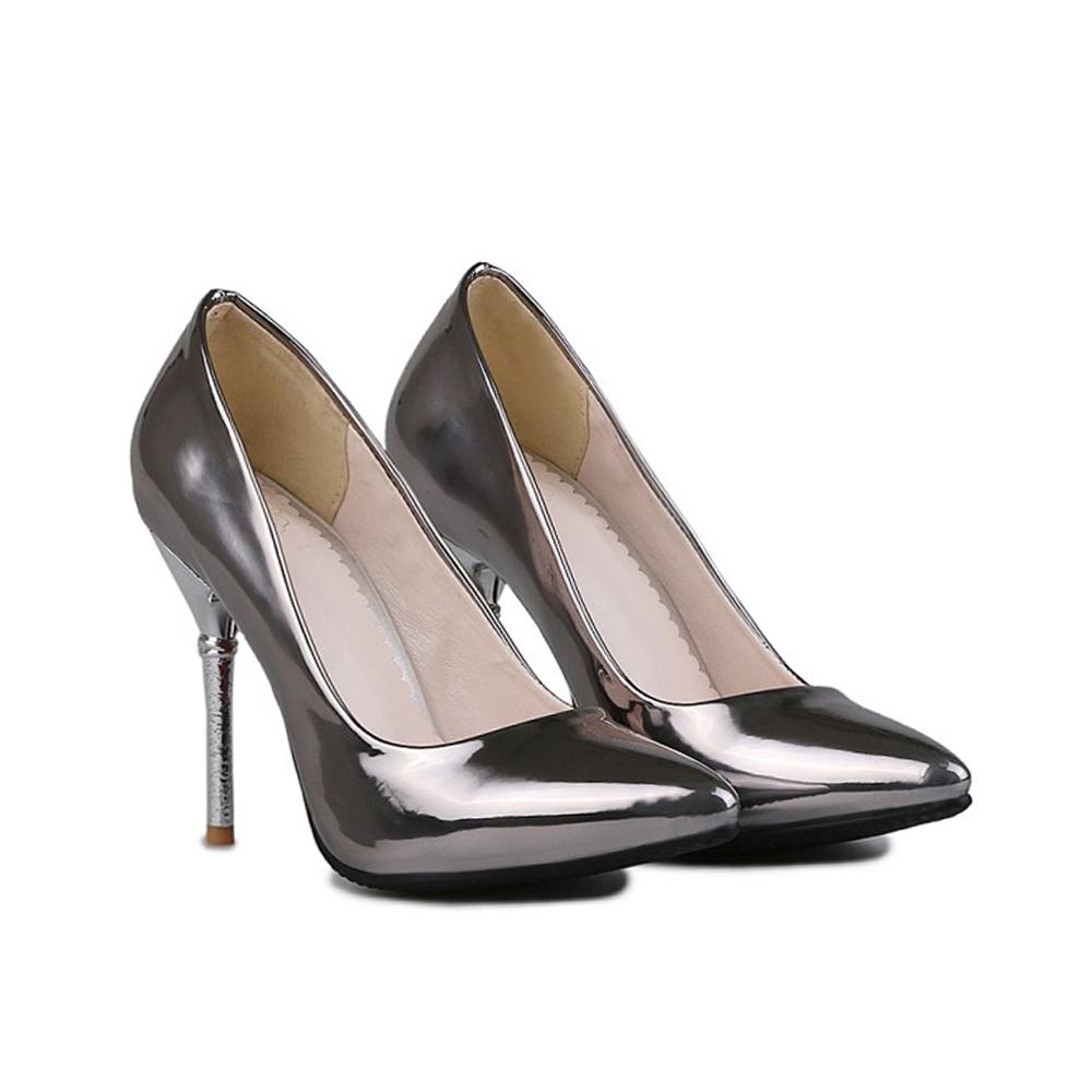รองเท้าส้นสูงไซส์ใหญ่ 41-42 48 Pointed-Toe Metallic สีเทาเมทัลลิค รุ่น KR0570