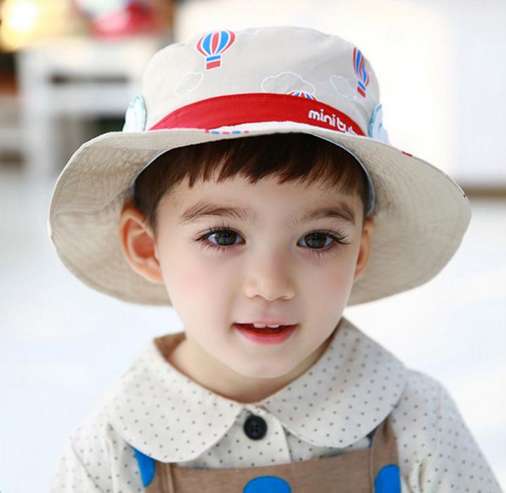 HT497••หมวกเด็ก•• / หมวกปีกกว้าง-บอลลูน (สีเบจ)