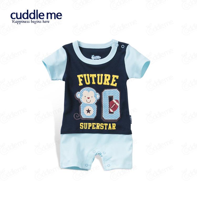 ชุดจั๊มสูทเด็ก Cuddle me สีกรมสลับสีฟ้าอ่อน ลายลิง Future 80 SuperStar