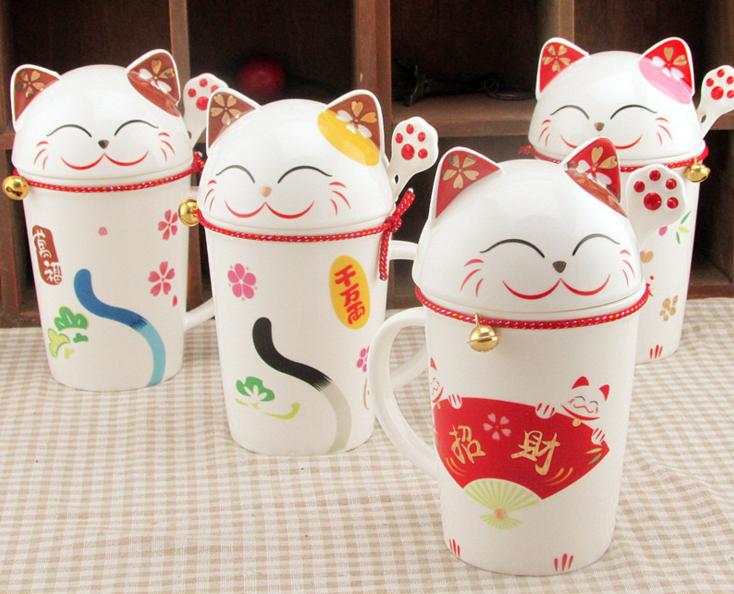 แก้วเซรามิคแมวกวัก <พร้อมส่ง>