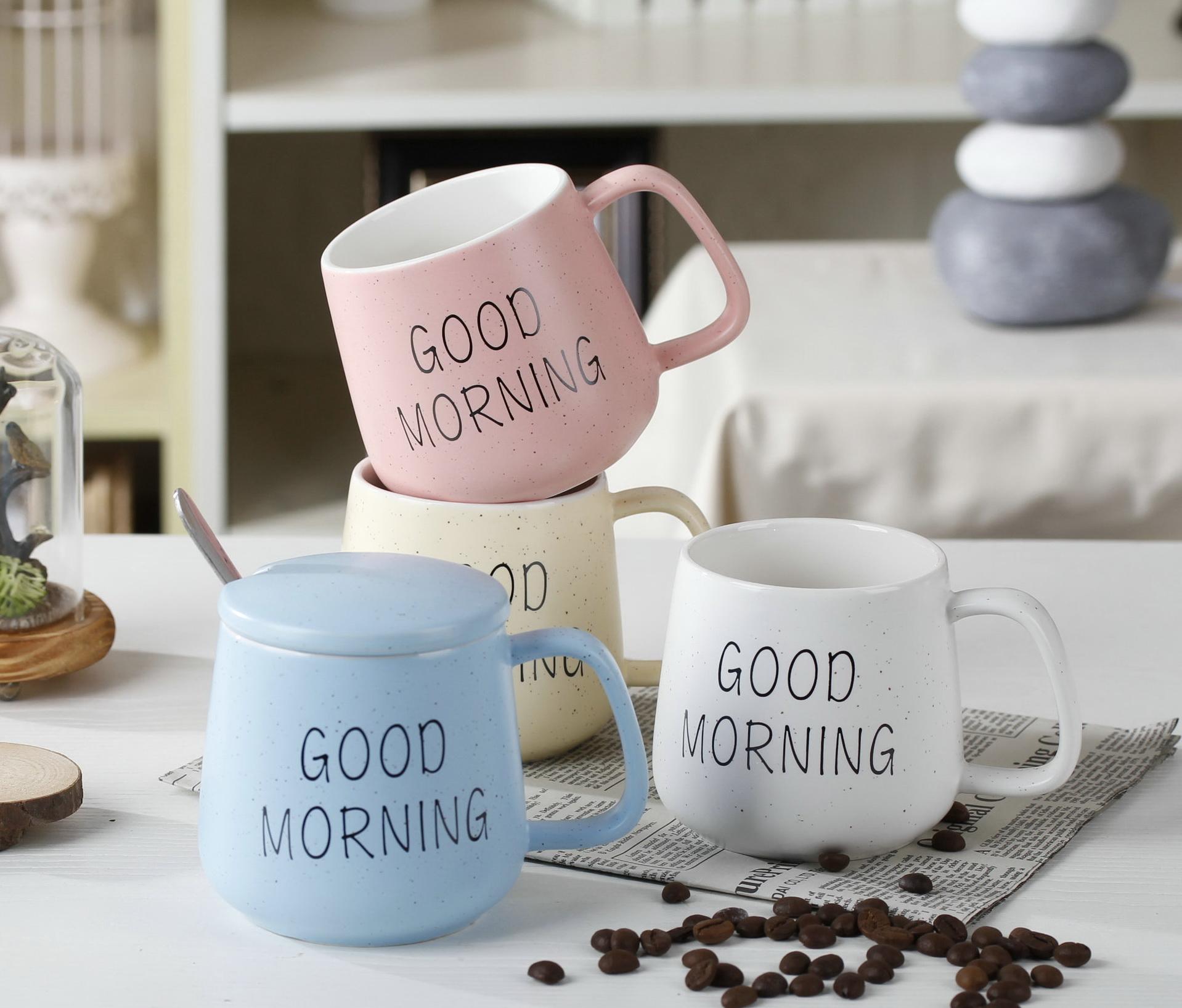 แก้วน้ำเซรามิคพร้อมฝาปิด Good Morning < พร้อมส่ง >