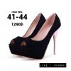 รองเท้าส้นสูงไซส์ใหญ่ 41-44 ส้นสีทองสูง 5 นิ้ว เปิดปลายเท้า สีดำกำมะหยี่ รุ่น KR0708