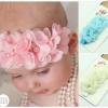 ผ้าคาดผมทารกแสนน่ารัก สายดอกไม้ชีฟองเกสรมุกเพชร