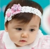 ผ้าคาดผมเด็กอ่อน ดอกไม้ลูกไม้รูดสีชมพูขาว