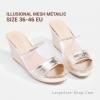 รองเท้าแตะส้นเตารีดไซส์ใหญ่ Illusional Mesh Metaillc ไซส์ 36-46 EU จากแบรนด์ CHOWY - CH0127