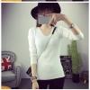 เสื้อยืดแขนยาว คอวี(สีขาว)