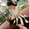 เสื้อซีฟองแขนกุด เวอร์ชั่นเกาหลี ลายสีดำสลับขาวแนวตั้ง